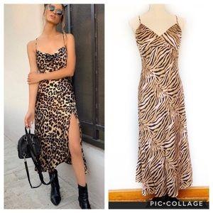 Vintage Tiger Print Silk Slip Dress
